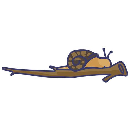 Cute snail on branch cartoon vector illustration motif set.