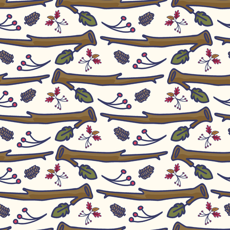 Forest leaf and branch cartoon seamless vector pattern. Hand drawn oak and berry tile.