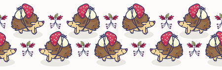 Cute hedgehog with mushroom cartoon seamless vector border. Hand drawn forest tile. All over print for nature blog, fungi graphic, woodland home decor.
