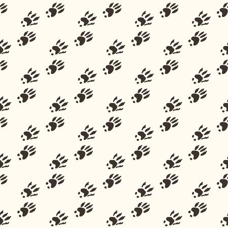 Cute squirrel pawprint cartoon seamless vector pattern. Hand drawn forest footprint tile