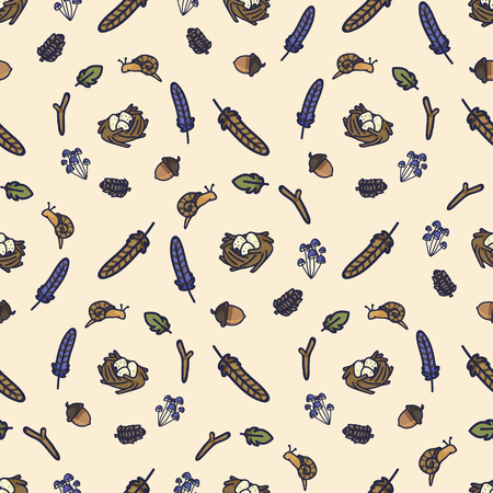 Forest wreath cartoon seamless vector pattern. Hand drawn snail, leaf and pine cone tile.