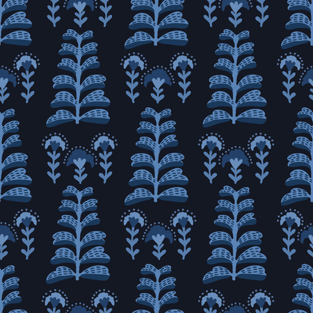 Indigo blue elegant indian floral plant pattern. Seamless repeating print. Hand drawn vector illustration. Ornamental damask flower on decorative background. Fashion, retro asian fusion home decor. Ilustração