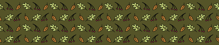 Forest leaf cartoon seamless vector border. Hand drawn oak and berry tile. All over print for autumn nature blog, dark green graphic, woodland home decor. Stock Illustratie