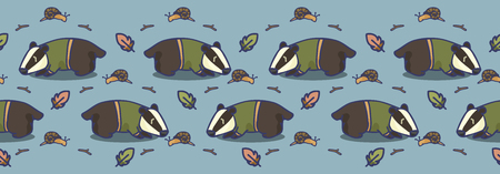 Cute badger cartoon seamless vector border. Hand drawn forest wildlife tile. All over print for nature blog, snail and leaf graphic, forest home decor.