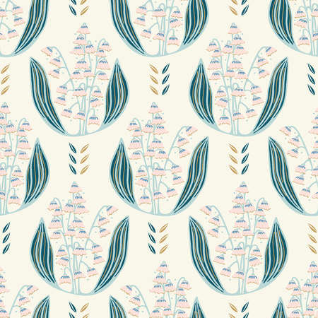 Hand drawn lily of the valley floral damask illustration. Seamless vector pattern all over print. Traditional may spring flower fashion motif. Decorative elegant wallpaper, classic garden home decor. Illustration