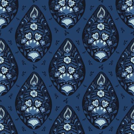 Indigo blue hand drawn arabesque floral paisley damask illustration. Seamless vector pattern all over print. Traditional persian flower foulard drop. Decorative stylized shawl fashion dyed home decor. Illustration