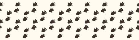Cute hedgehog pawprint cartoon seamless vector border. Hand drawn forest footprint tile Vector Illustration