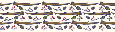 Forest leaf and branch cartoon seamless vector border. Hand drawn oak and berry tile.