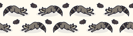 Cute raccoon cartoon seamless vector border. Hand drawn urban wildlife tile. Stock Illustratie