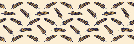 Forest feather cartoon seamless vector border. Hand drawn bird tile. All over print for autumn nature blog, animal graphic, woodland home decor.