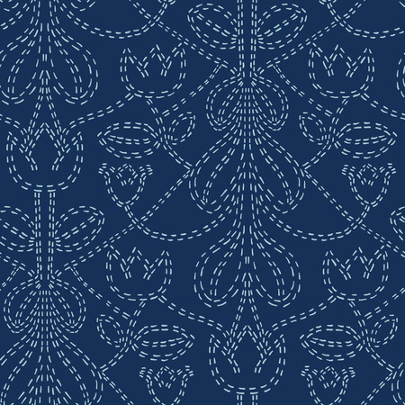Floral Motif Sashiko Style Japanese Needlework Seamless Vector Pattern. Hand Stitch Indigo Blue Line Texture for Textile Print, Classic Japan Decor, Asian Backdrop or Simple Kimono Quilting Template  イラスト・ベクター素材