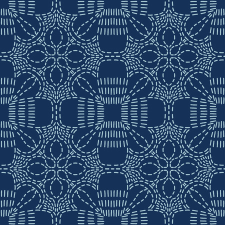 Floral Motif Sashiko Style Japanese Needlework Seamless Vector Pattern. Hand Stitch Indigo Blue Line Texture for Textile Print, Classic Japan Decor, Asian Backdrop or Simple Kimono Quilting Template 写真素材 - 124003885