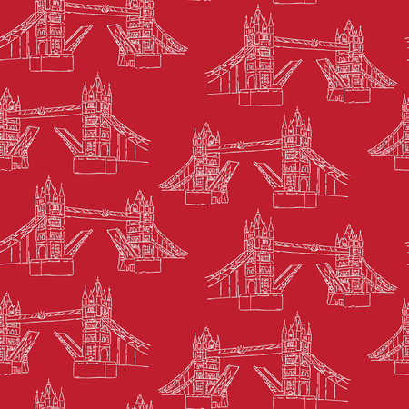 Sketchy London Tower Bridge seamless vector pattern. Famous historical british monument for travel vacation wallpaper, british uk sightseeing all over print. Drawbridge over river thames in red white.