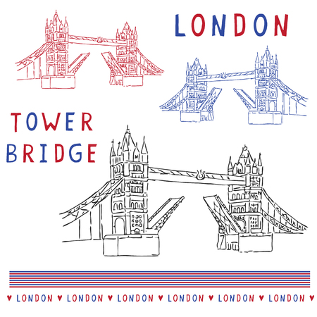 Sketchy London Tower Bridge illustration set. Famous historical british monument for travel vacation clipart, british uk sightseeing icon graphics. Drawbridge over river thames. Love London red blue.