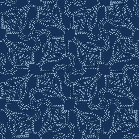 Embroidery Sashiko Style. Japanese Needlework Seamless Vector Pattern. Hand Stitch Indigo Blue Line, Furoshiki Wrap Textile Print, Classic Japan Decor, Asian Backdrop. Simple Kimono Quilting Template  イラスト・ベクター素材