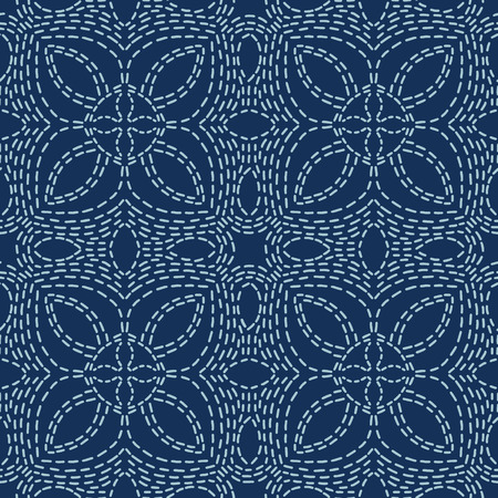 Floral Motif Sashiko Style Japanese Needlework Seamless Vector Pattern. Hand Stitch Indigo Blue Line Texture for Textile Print, Classic Japan Decor, Asian Backdrop or Simple Kimono Quilting Template 写真素材 - 120194070