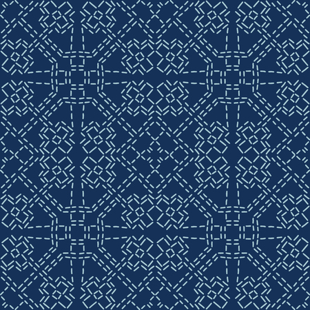 Abstract Motif Sashiko Style Japanese Needlework Seamless Vector Pattern. Hand Stitch Indigo Blue Line Texture for Textile Print, Classic Japan Decor, Asian Backdrop or Simple Kimono Quilting Template