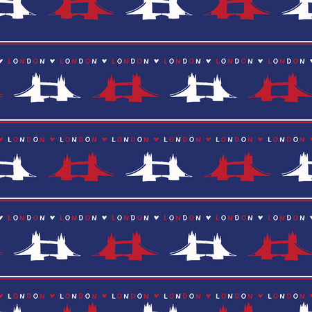 Silhouette London Tower Bridge seamless vector pattern. Famous historical british monument. Travel vacation wallpaper, british uk sightseeing all over print. Drawbridge river thames in red blue white Ilustrace
