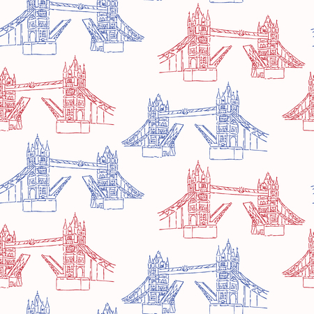 Sketchy London Tower Bridge seamless vector pattern. Famous historical british monument for travel vacation wallpaper, british uk sightseeing all over print. Drawbridge river thames in red blue white.
