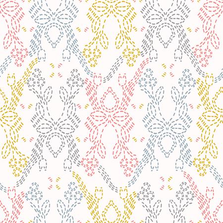 Embroidery Sashiko Style. Japanese Needlework Seamless Vector Pattern. Hand Stitch Spring Pastel Line, Furoshiki Wrap Textile Print, Modern Japan Decor, Asian Backdrop. Spring Kimono Quilting Template  イラスト・ベクター素材