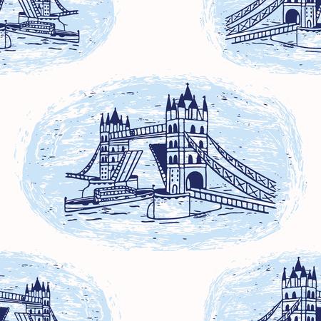 Sketchy London Tower Bridge seamless vector pattern. Famous historical british monument vignette. Travel vacation wallpaper, british uk sightseeing all over print. Blue white drawbridge river thames.