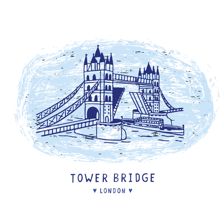 Sketchy London Tower Bridge illustration card. Famous historical british monument for travel vacation clipart, british uk sightseeing icon vignette. Drawbridge over river thames. Love London blue.  イラスト・ベクター素材