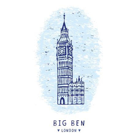 Sketchy London Big Ben clock tower chime clipart elements set. Famous