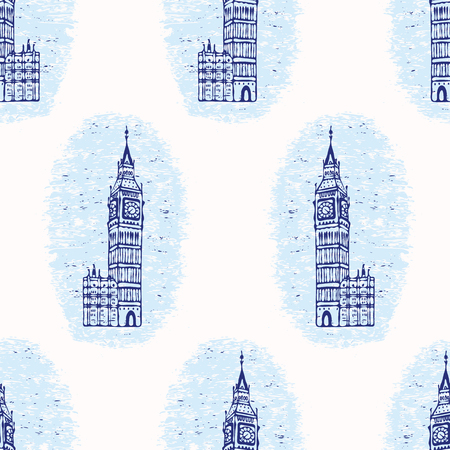 Vignette London Big Ben Clock Tower seamless vector pattern. Famous
