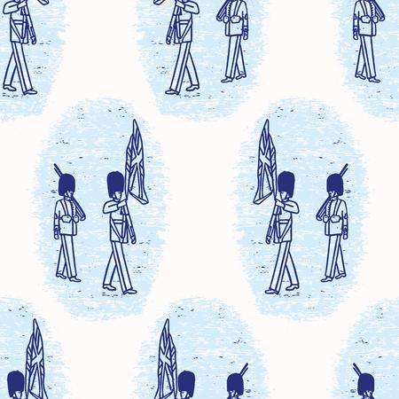 Sketchy London Royal Guard seamless vector pattern. Famous historical british