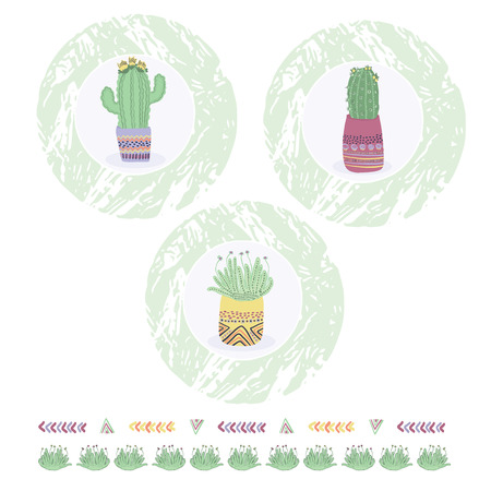 Cactus in plant pot clipart frame element set. Indoor isolated succulent