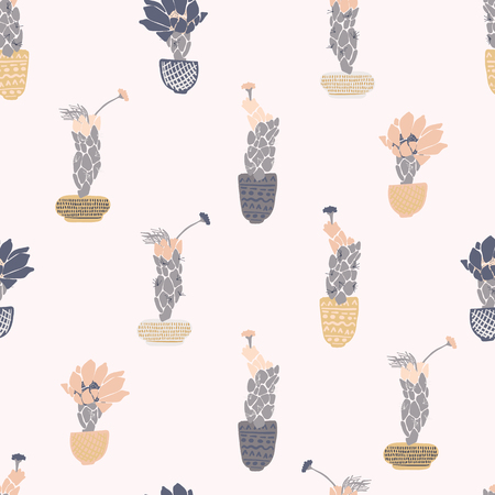 Cactus in pot flowering bloom seamless pattern. Indoor succulent houseplant flower vector illustration. Repeatable flat design wallpaper. Hand drawn pretty desert cacti garden plant decor background.