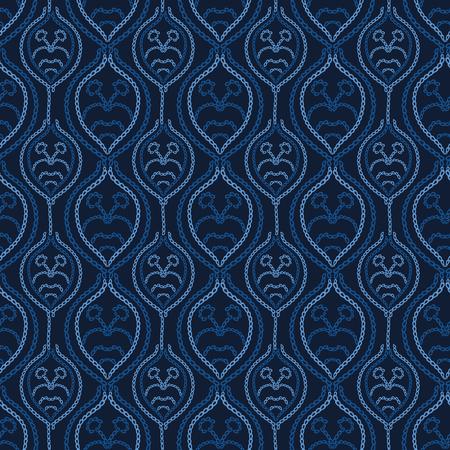 Embroidery Sashiko Style. Japanese Needlework Seamless Vector Pattern. Hand Stitch Spring Pastel Line, Furoshiki Wrap Textile Print, Modern Japan Decor, Asian Backdrop. Spring Kimono Quilting Template 写真素材 - 123965941