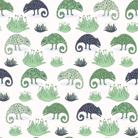 Chameleon lizard and succulent plant seamless pattern. Green reptile repeatable tile vector illustration. Pet store, zoo camouflage graphic design wallpaper. Hand drawn exotic wild animal background. 矢量图像