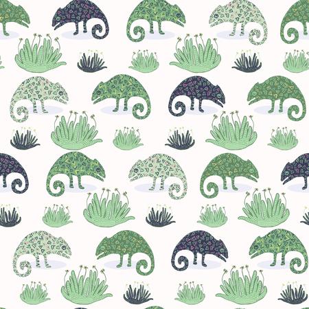 Lagarto camaleón y patrón sin fisuras de plantas suculentas. Ilustración de vector de azulejo repetible reptil verde. Tienda de mascotas, papel tapiz de diseño gráfico de camuflaje de zoológico. Fondo de animales salvajes exóticos dibujados a mano. Ilustración de vector