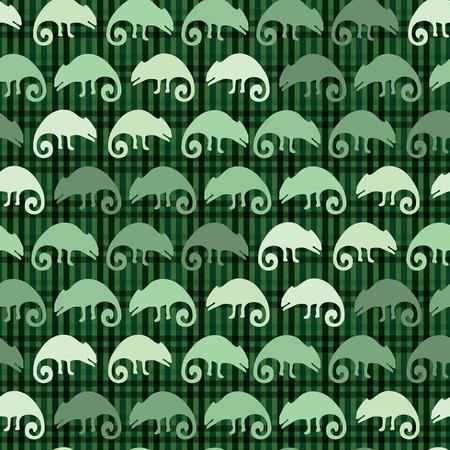 Chamäleon-Eidechse und Sukkulente nahtlose Muster. Grüne Reptil wiederholbare Fliese-Vektor-Illustration. Zoohandlung, Zootarnungsgrafikdesigntapete. Handgezeichneter exotischer Wildtierhintergrund.