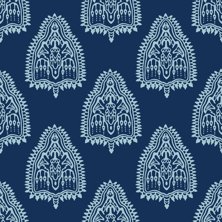Indigo blue hand drawn persian arabesque motif damask illustration. Seamless decorative vector pattern. Japanese style all over print. Intricate filigree. Elegant wallpaper, indian boho home decor.