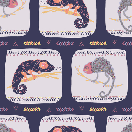 Cartoon chameleon textured lizard seamless pattern. Colorful reptile repeatable tile vector illustration. Pet store, kids camouflage design wallpaper. Hand drawn exotic animal silhouette background.