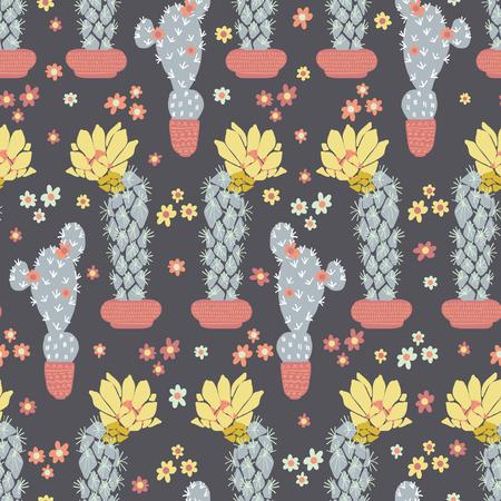 Cactus in pot flowering bloom seamless pattern. Indoor succulent houseplant flower vector illustration. Repeatable flat design wallpaper. Hand drawn pretty desert cacti garden plant decor background.
