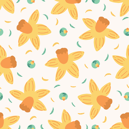 Hand painted daffodil. Large scale floral vector seamless pattern. White background.