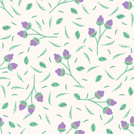 Hand drawn small scale floral bud vector seamless pattern. White background. Illustration