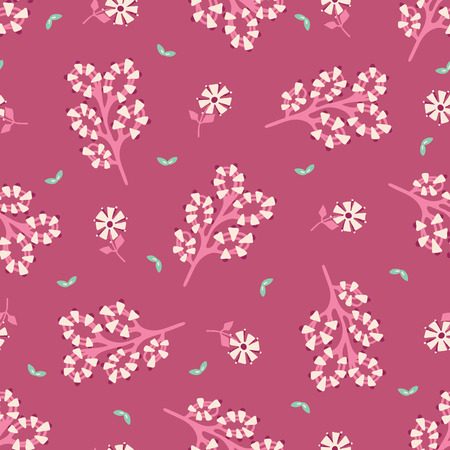 Hand painted large scale floral vector seamless pattern. Dark pink background with stylized stem blooms.