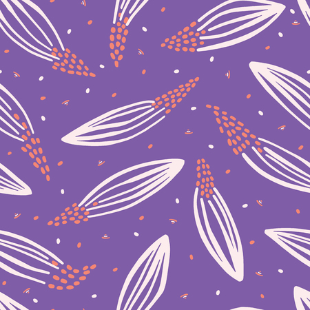 Hand painted large scale floral vector seamless pattern. Purple background.