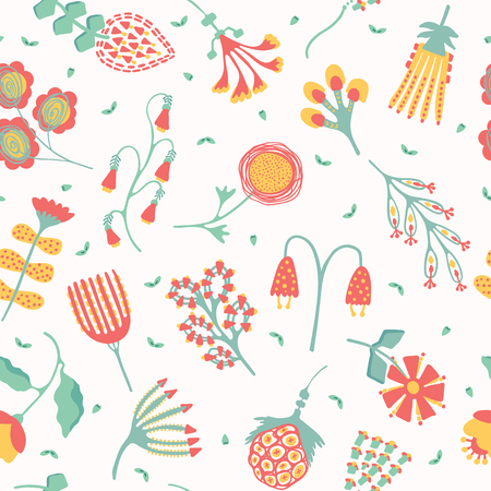 Hand painted large scale floral vector seamless pattern. White background. Colorful stylized stem bloom. Illustration