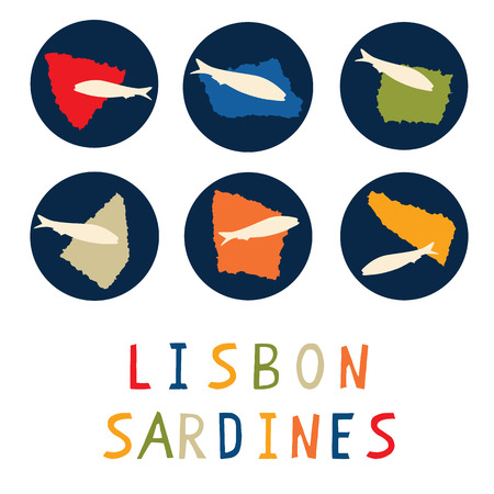 Sardine motif clipart with Lisbon text. Grilled fishes symbol for St Antonio traditional portugese food festival. J