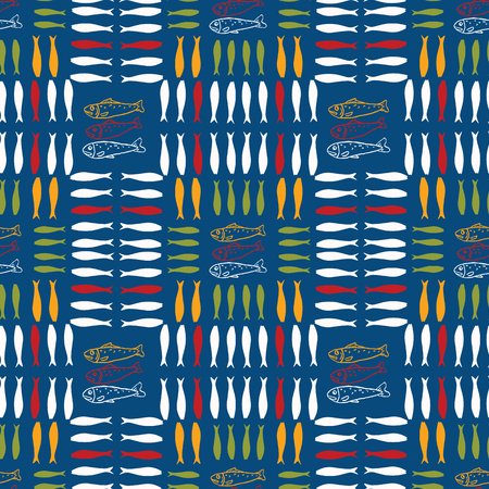 Sardine shoal of fish seamless vector pattern. Lisbon St Antonio traditional portugese food festival grilled fishes.