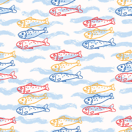 Sardine fish swimming seamless vector pattern. Lisbon St Antonio traditional portugese food festival grilled fishes.