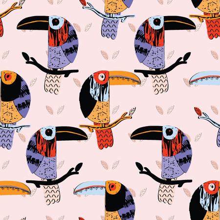 Textured toucan collage bird seamless repeat pattern. Avian jungle design for trendy fashion
