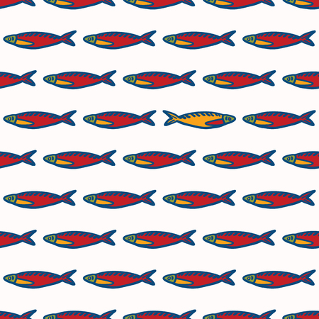 Sardine fish stripes seamless vector pattern of grilled fishes. Lisbon St Antonio traditional portugese food festival.