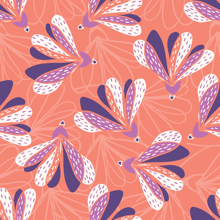 Hand drawn large scale floral vector seamless pattern. Coral background. Vettoriali