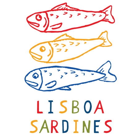 Sardine motif clipart with Lisbon text. Grilled fishes symbol for St Antonio traditional portugese food festival.